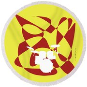 Drums In Yellow Strife Round Beach Towel