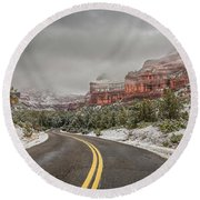 Boynton Canyon Road Round Beach Towel