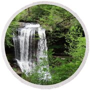 Round Beach Towel featuring the photograph Dry Falls In The Spring by Cathy Harper
