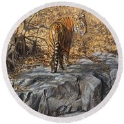 Round Beach Towel featuring the painting Dry, Hot And Irritable by Alan M Hunt