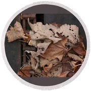Dry Leaves And Old Steel-ii Round Beach Towel by Patricia Overmoyer