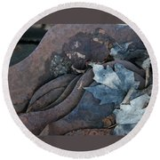 Dry Leaves And Old Steel-ix Round Beach Towel by Patricia Overmoyer