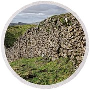 Dry Stone Wall In The Yorkshire Dales Round Beach Towel