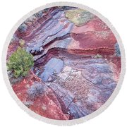 Dry Stream Canyon Areial View Round Beach Towel