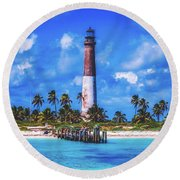 Dry Tortugas Lighthouse Round Beach Towel