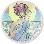 Drying Off From A Swim Round Beach Towel by Loretta Nash