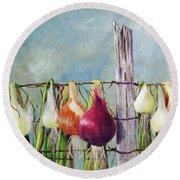 Drying Onions Round Beach Towel