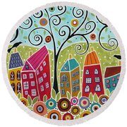 Dsc01598-swirl Tree Village Round Beach Towel