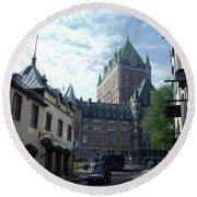Round Beach Towel featuring the photograph du Fort Chateau Frontenac by John Schneider