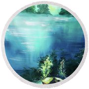 Round Beach Towel featuring the painting Duality by Anil Nene