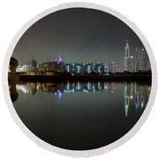 Dubai City Skyline Night Time Reflection Round Beach Towel