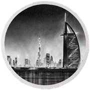 Dubai Cityscape Drawing Round Beach Towel