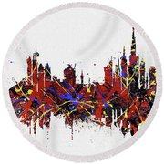 Round Beach Towel featuring the painting Dubai Colorful Skyline by Dan Sproul