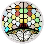 Dublin Art Deco Stained Glass Round Beach Towel
