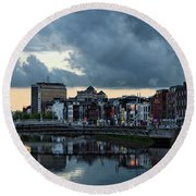 Dublin Sky At Sunset Round Beach Towel