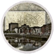 Dublin Skyline Mapped Round Beach Towel
