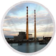 Dublin's Poolbeg Chimneys Round Beach Towel