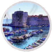 Dubrovnik Harbour Round Beach Towel