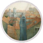 Dubrovnik Rooftops Round Beach Towel by Steve Mitchell