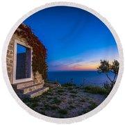 Dubrovnik Ruins Round Beach Towel