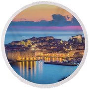 Dubrovnik Twilight Panorama Round Beach Towel