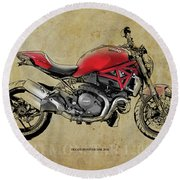 Ducati Monster 1200, 2014, Red Motorcycle, Gift For Husband, Gift For Bikers Round Beach Towel