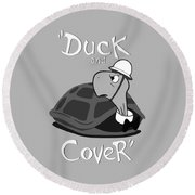 Duck And Cover - Vintage Nuclear Attack Poster Round Beach Towel