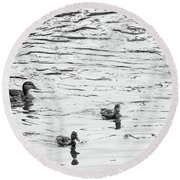 Duck And Ducklings Round Beach Towel