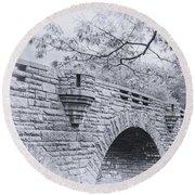 Duck Brook Bridge In Black And White Round Beach Towel
