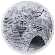 Duck Brook Bridge In Black And White Round Beach Towel