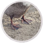 Round Beach Towel featuring the photograph Duck Feet In The Sand by Cindy Garber Iverson