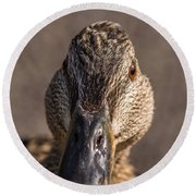 Duck Headshot Round Beach Towel