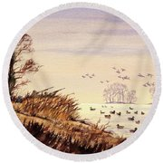 Round Beach Towel featuring the painting Duck Hunting Times by Bill Holkham