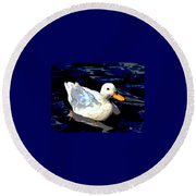 Round Beach Towel featuring the mixed media Duck In Water by Charles Shoup