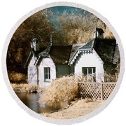 Round Beach Towel featuring the photograph Duck Island Cottage by Helga Novelli