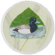 Duck On Pond #2 Round Beach Towel by Ralph Root