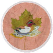 Duck On Pond Round Beach Towel by Ralph Root