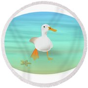 Duck Paddling At The Seaside Round Beach Towel