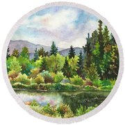 Duck Pond At Caribou Ranch Round Beach Towel