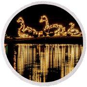 Duck Pond Christmas Round Beach Towel