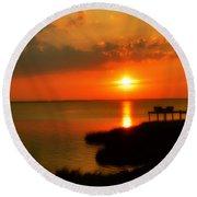 Duck Sunset Outer Banks North Carolina Round Beach Towel by Randy Steele