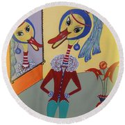 Round Beach Towel featuring the painting Duck With A Sapphire-pearl Earring by Marie Schwarzer