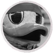 Round Beach Towel featuring the photograph Ducking Around by Laddie Halupa