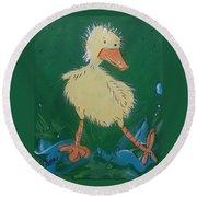Duckling 3 Round Beach Towel