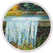 Round Beach Towel featuring the painting Ducks And Waterfall by Michael Daniels
