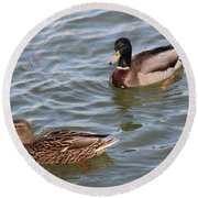 Ducks By The River Round Beach Towel