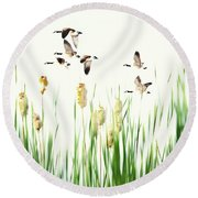 Ducks In Flight - Migration  Round Beach Towel by Andrea Kollo