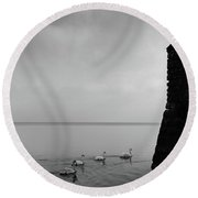 Ducks In Lake Garda, Italy Round Beach Towel