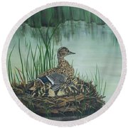 Ducks In Lifting Fog Round Beach Towel