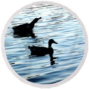Ducks In The Evening Round Beach Towel
